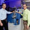Photo of an open port sampling probe with its inventors, Vilmos Kertesz and Gary Van Berkel. Photo courtesy: ORNL